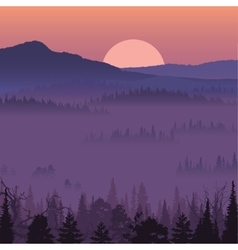 Natural landscape with sunset vector