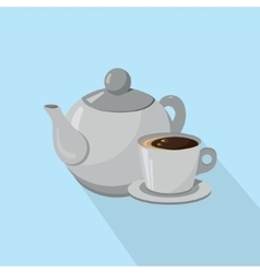 Teapot and cup of coffee isolated on a white vector