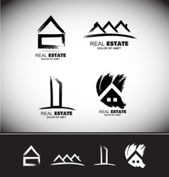 Grunge drawing real estate logo set vector