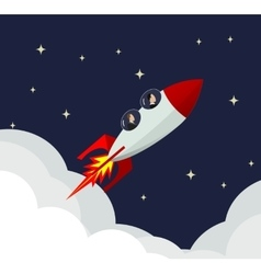 businessman success rocket vector image