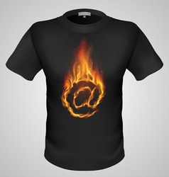 T shirts black fire print man 26 vector