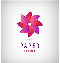 abstract origami 3d flower logo use for vector image