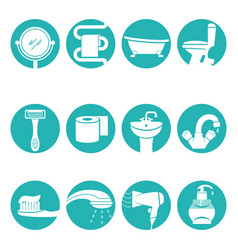 Bathroom necessary elements in round logo signs vector