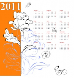 calendar for 2011 with rose vector image