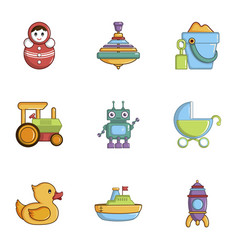 children toys icons set cartoon style vector image