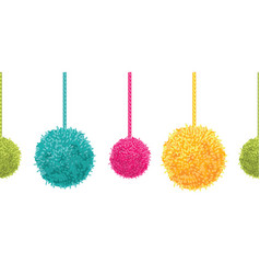 colorful decorative pompoms big and small vector image