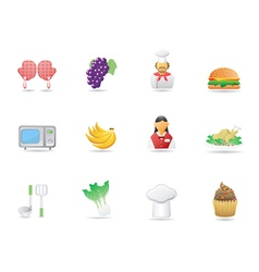 cooking ingredient and Restaurant icons vector image vector image