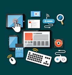 Different modern gadgets on the table vector image vector image