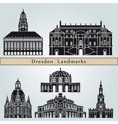 Dresden landmarks and monuments vector