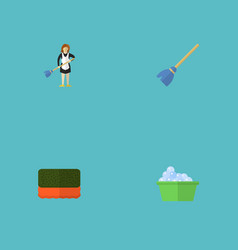 flat icons housewife laundry besom and other vector image vector image