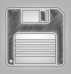 Floppy disk sign pencil sketch imitation vector