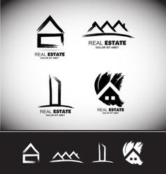 Grunge drawing real estate logo set vector