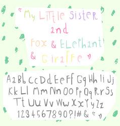 Hand drawn doodle font set vector