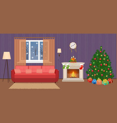Living room christmas decorated interior with vector