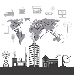 modern city wireless technology vector image