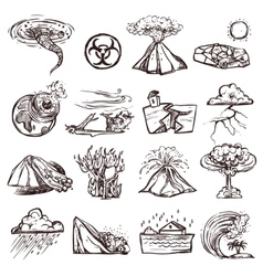 Natural Disaster Sketch Icon Set vector image