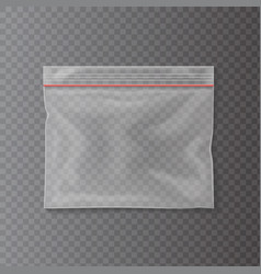 plastic transparent pocket bag closing strip vector image vector image