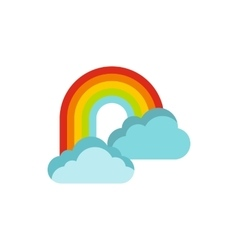Rainbow in clouds icon flat style vector image