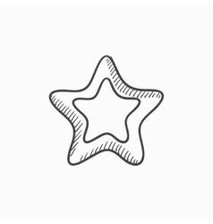 Rating star sketch icon vector image vector image
