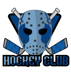 retro logo mask hockey club vector image vector image