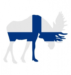 rutting moose in finish flag vector image vector image