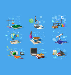 Science and technology research equipment set vector