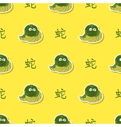 Seamless pattern with snake and chinese zodiac vector