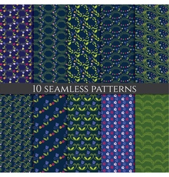 set of flower seamless pattern vector image vector image