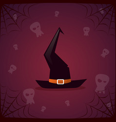 silhouette witch hat and skull happy halloween vector image vector image