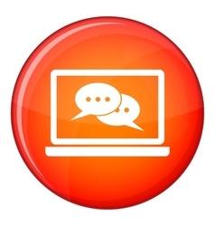 Speech bubbles on laptop screen icon flat style vector