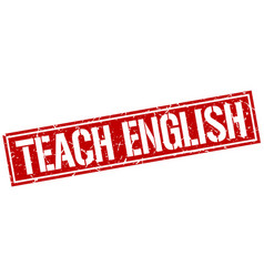 Teach english square grunge stamp vector