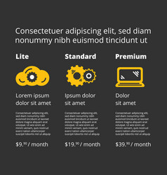 Three tariffs price list for website vector