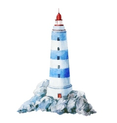 Watercolor lighthouse vector