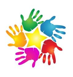 Hands print in vivid colors logo vector image