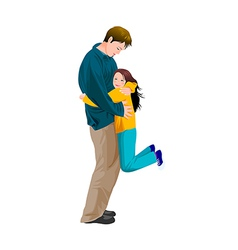 Portrait of girl hugging father vector