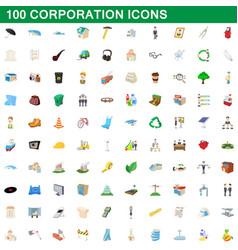 100 corporation icons set cartoon style vector