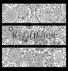 Horizontal flyers with tribal pattern vector