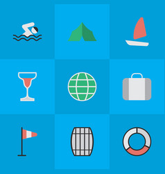 Set of simple relax icons elements flag world pool vector