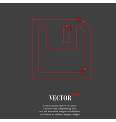 Floppy disk flat modern web button and space for vector