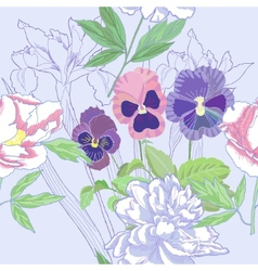 Blue seamless pattern with peonies and pansy vector