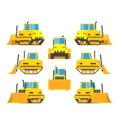 Yellow bulldozer vector