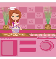 beautiful Housewife preparing the dough into vector image