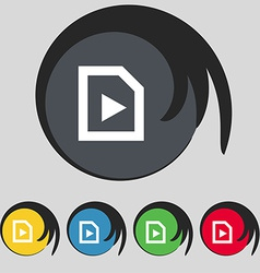 Play icon sign symbol on five colored buttons vector