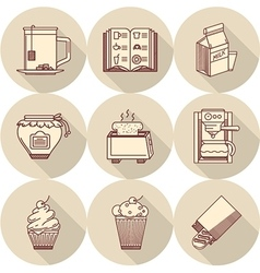Breakfast beige round icons vector