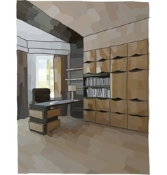 Luxury cabinet interior vector