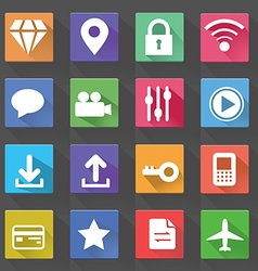 Application web icons set in flat design with long vector