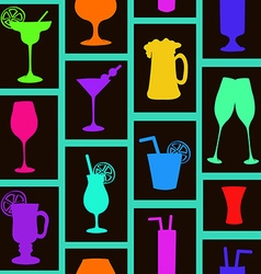 Seamless pattern of cocktails and drinks vector