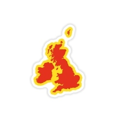 Paper sticker map britain on white background vector
