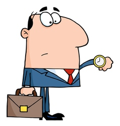 Businessman checking his watch vector