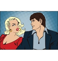 People in retro style loving couple on walk vector